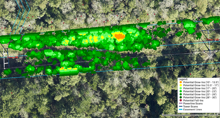 Visualization of potential risk to an electric transmission span based on vegetation clearance to conductors