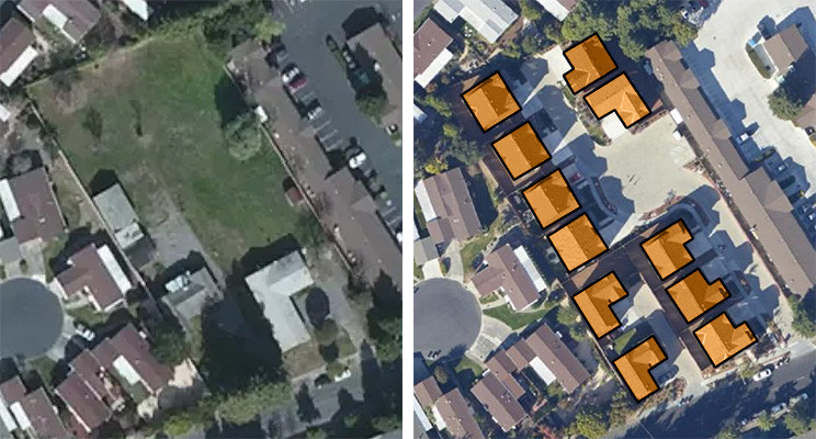 Open space in urban area (left) converted into single-family residences (right).