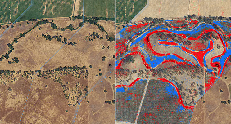 Traditional aerial view (left). Topographic change analytics (right). Red represents reduction in earth; blue represents increase.